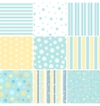 Set of Seamless patterns with Flower star polka vector image vector image
