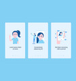 set of vertical banner with girl and modern gadget vector image vector image