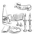 Shabbat symbols set vector image