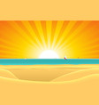 summer beach with sailboat postcard background vector image