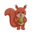 textured cartoon a funny squirrel with acorn vector image vector image