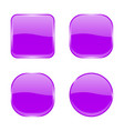 violet glass buttons shiny geometric 3d icons vector image vector image