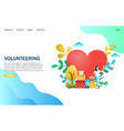 volunteering website landing page design vector image