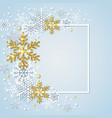 winter frame with white and golden snowflakes vector image
