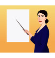 Woman showing by pointer to the poster vector image vector image