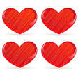 set of striped hearts 2 vector image