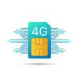 4g sim card mobile telecommunications technology vector image
