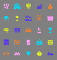 Asset and property color icons on gray background vector image vector image