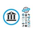 Bank Flat Icon with Bonus vector image vector image