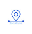 blue thin line location pin icon vector image vector image