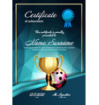 bowling certificate diploma with golden cup vector image vector image
