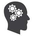 brain gears flat icon symbol vector image