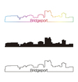 Bridgeport skyline linear style with rainbow vector image vector image