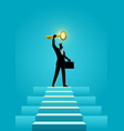 businessman holding a golden key on top of stairs vector image vector image