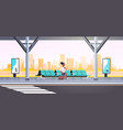 businesswoman sitting modern bus stop african vector image vector image