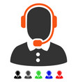 call center operator flat icon vector image vector image