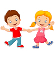 Cartoon little kids holding hand vector image vector image