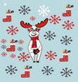 christmas elements collection with deer and vector image