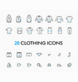 collection and linear lothes icons on a vector image