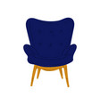 comfortable blue armchair on wooden legs vector image vector image