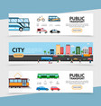 flat public transport horizontal banners vector image vector image