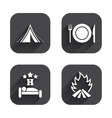Food sleep camping tent and fire signs vector image vector image