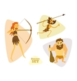 Funny cartoon hunters set Cavemans Huntering vector image
