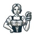 girl with pint beer logo emblem bar menu
