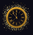 golden new year clock on a magic glowing vector image