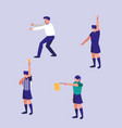 group of sports referees avatar character vector image