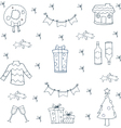 Hand draw christmas doodle set vector image vector image