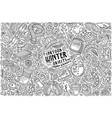 hand drawn doodle cartoon set winter vector image