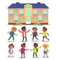 happy kids go to school with backpacks cartoon vector image