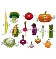 healthy cartoon happy farm vegetables vector image vector image