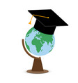 higher education college university globe in cap vector image