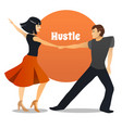 hustle dancing couple in cartoon style vector image vector image