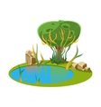 Island with a Lake and Tree vector image