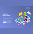 isometric digital marketing concept guy sets up vector image vector image