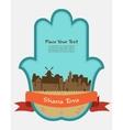 Jerusalem skyline inside hamsa hand rosh hashana vector image vector image