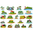 large group isolated objects theme - landscapes vector image