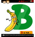 letter b with banana cartoon vector image vector image