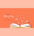 literacy day papercut card open book birds flying vector image vector image