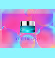 mock up cosmetic realistic glass cream jarsilver vector image