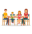 mother and father son and daughter eating vector image vector image