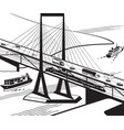 multifunctional transportation bridge in perspecti vector image vector image