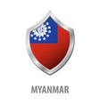 myanmar flag on metal shiny shield vector image vector image