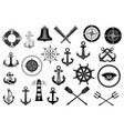 nautical icon set with anchor helm and rope vector image vector image
