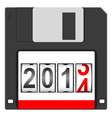 Old floppy disc for computer vector image