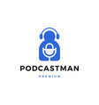podcast man logo icon vector image vector image