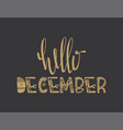 poster with hello december quote isolated vector image